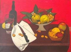 """""""Winter Fruit"""" Red Bright Still-Life Oil Paint Contemporary American Folk"""