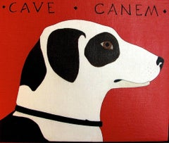 """""""Cave Canem"""" Dog Animal Oil Painting American Folk Red Minimal Contemporary"""