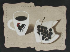 """Mug and Grape Stencil Cut"" Still-Life Tan American Folk Oil Painting Minimal"