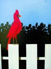 Red Bird on Fence