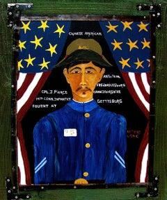 """C.P.L. J Pierce"" Naive Portait of Chinese American Gettysburg Soldier"