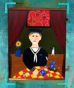 """USS. Dubuque""  Folk/Naive/Primitive Portrait of a Sailor by Self-Taught Artist"