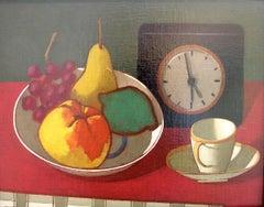 Bowl of Fruit, Clock and Demitasse