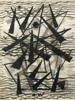 """Untitled Abstraction"" Pen and Ink Drawing Black and White Greyscale Geometric"