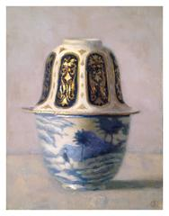 Two Blue and White with Gold Cups on Top of Each Other
