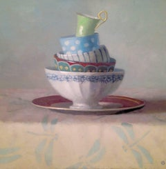 """Elegant Still Life of Stacked Cups and Dishes on Dragoncloth"""