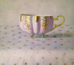 Pink and Gold Cup on Dots