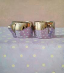 Two Silver Cups on Lavender with White Dots