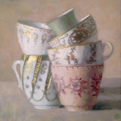 """""""Elegant Still Life of Six Stacked Cups, Gold and White, Pink and Green"""""""