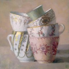 Six Stacked Cups, Gold and White, Pink and Gren