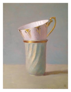"""""""Elegant Still Life of Two Stacked Cups Pink and Green on Blue/Green"""""""
