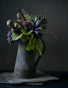 """Food Bouquet #1"" Still-Life Contemporary Photography Purple Fruit and Flowers"