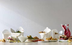 'Tablescape - Chinese Food Dinner' Humorous still life composition in white/pink