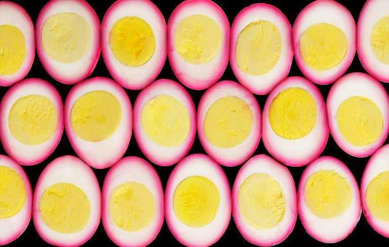 "Beth Galton Color Photograph - ""Cut Food  -  Eggs""   Multiple Sliced Egg Composition Yellow, White and Hot Pink"