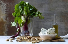 """Still Life of Beets, Blue Cheese and Walnuts""  Gray, white, lavender photograph"