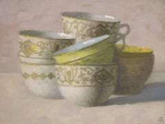 """""""Elegant Still Life of Group of White and Gold Cups, One Yellow"""""""