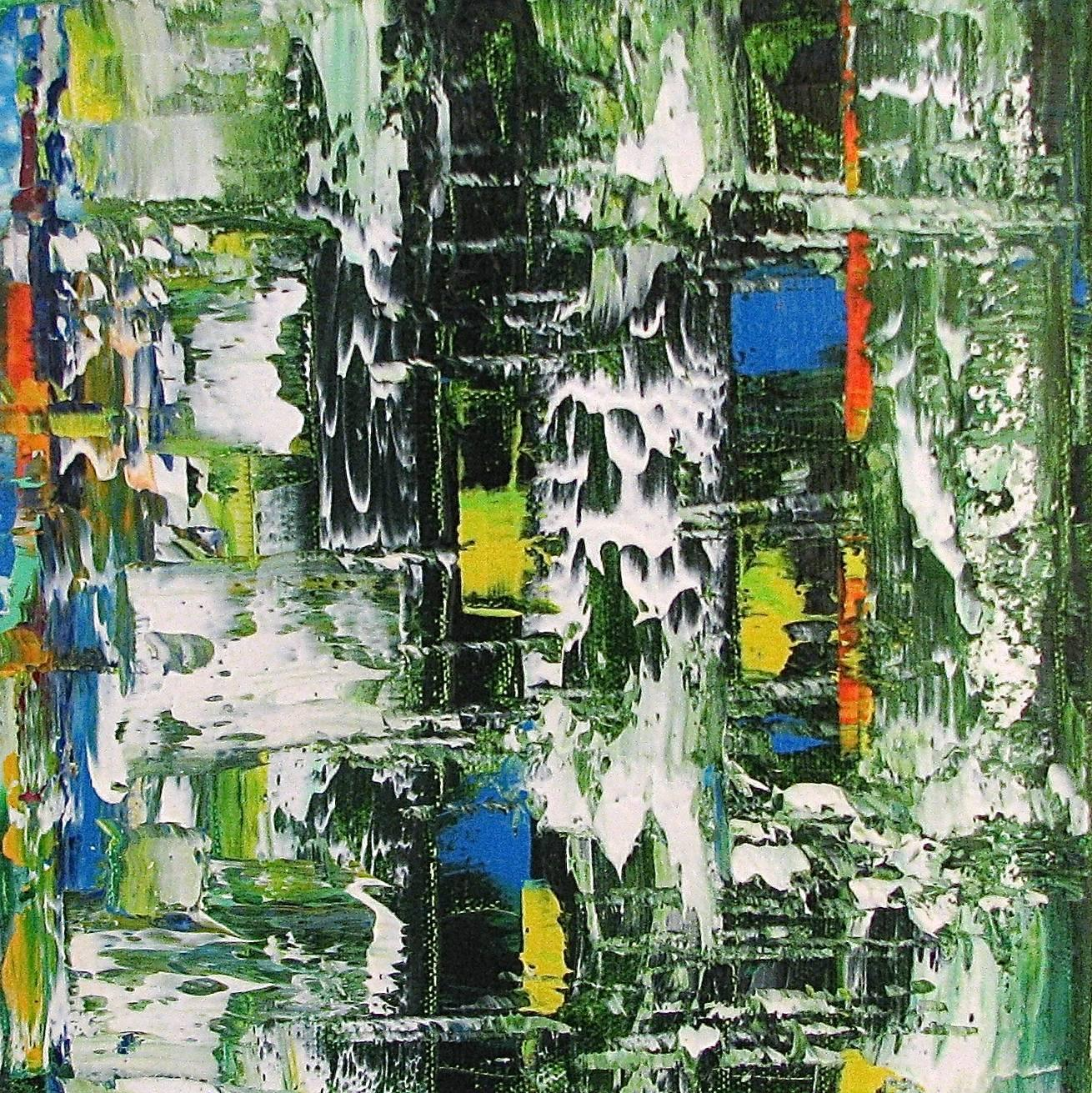 """Small Abstract  # 43""  Expressionist Oil in Green, White, Black, Blue, Orange"