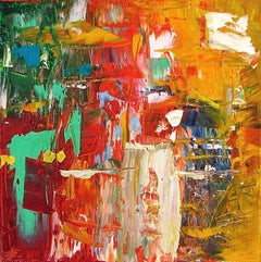 """Small Abstract  # 1""  Expressionist Oil Red, Orange, Yellow, Green, Tan, White"
