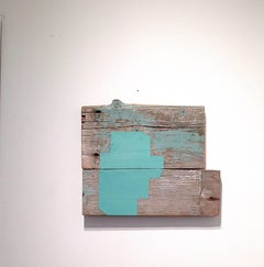 """""""Begging Blue"""" Abstract Geometric Oil on Wood Mixed Media Blue"""