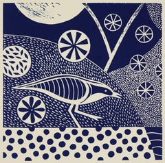 """Chittering and Chattering V,"" Folk inspired Blue Linoleum Block Print of Bird"