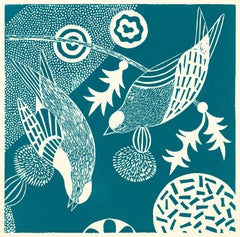 """Chittering and Chattering IV,"" Folk inspired Teal Linoleum Block Print of Birds"