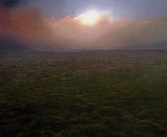 """California Field at Sunset""  Medium Sized Landscape with Setting Sun"