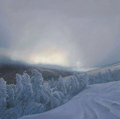 """On the Mountain in Snow at Dusk""  Medium sized Landscape of Winter Scene, Dusk"