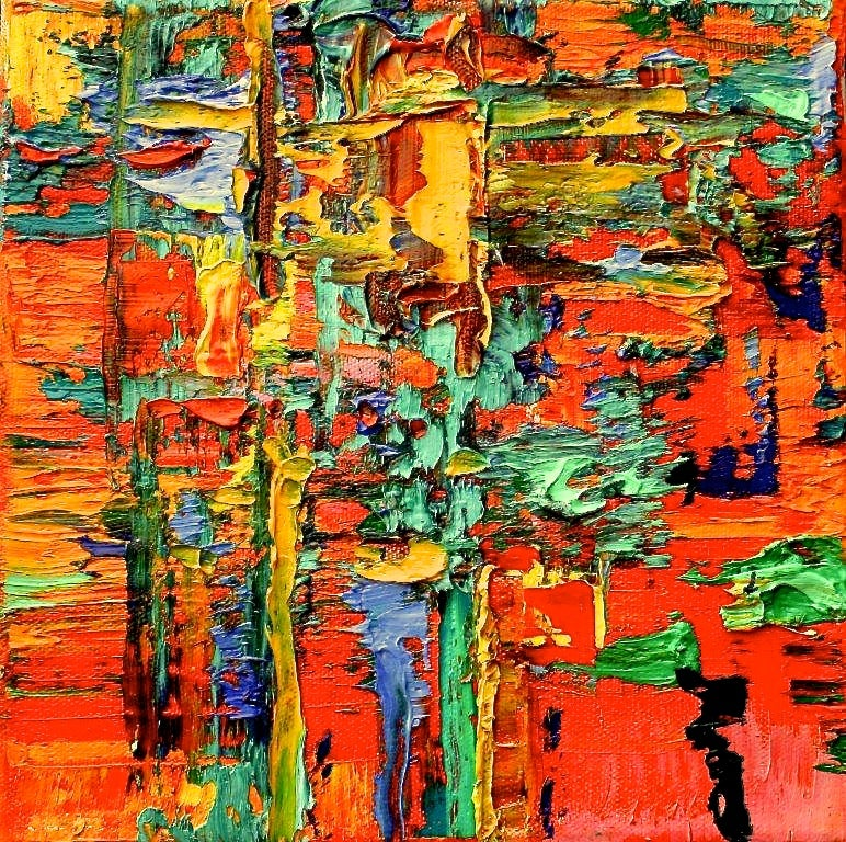 """""""Small Abstract #63""""  Abstract Expressionist Oil Orange, Red, Yellow and Blue"""