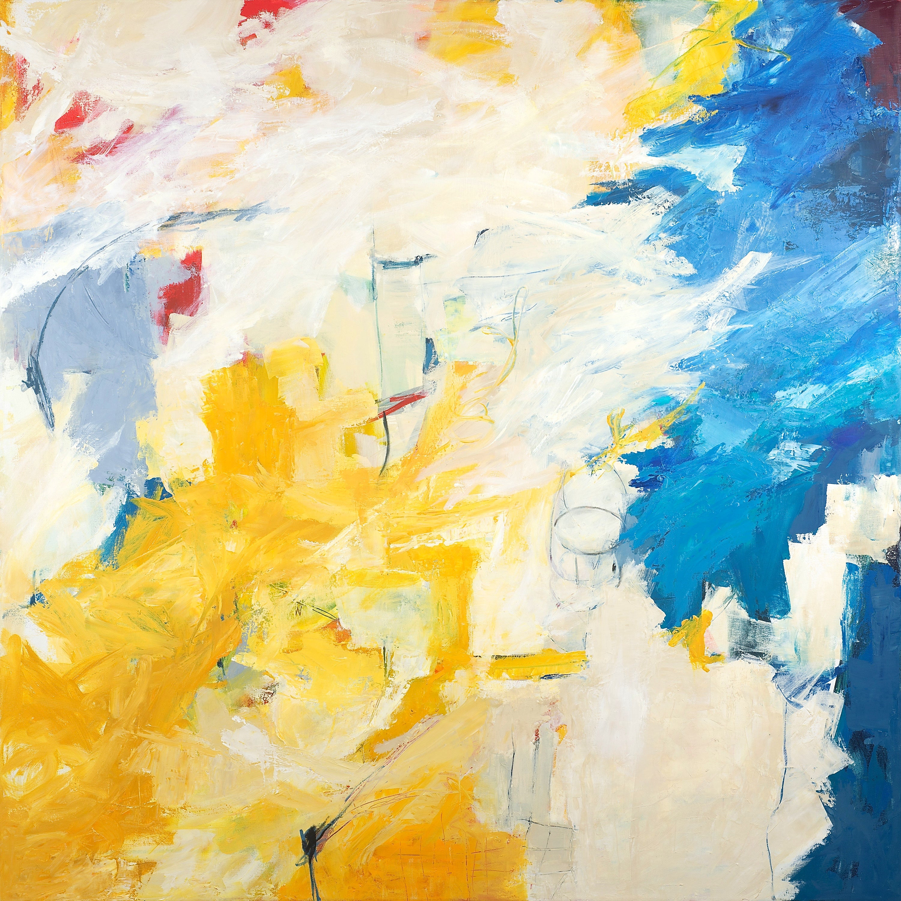 """""""Puzzle Pieces"""" Colorful Expressionist Abstract Yellow Ochre/Turquoise/White/Red"""