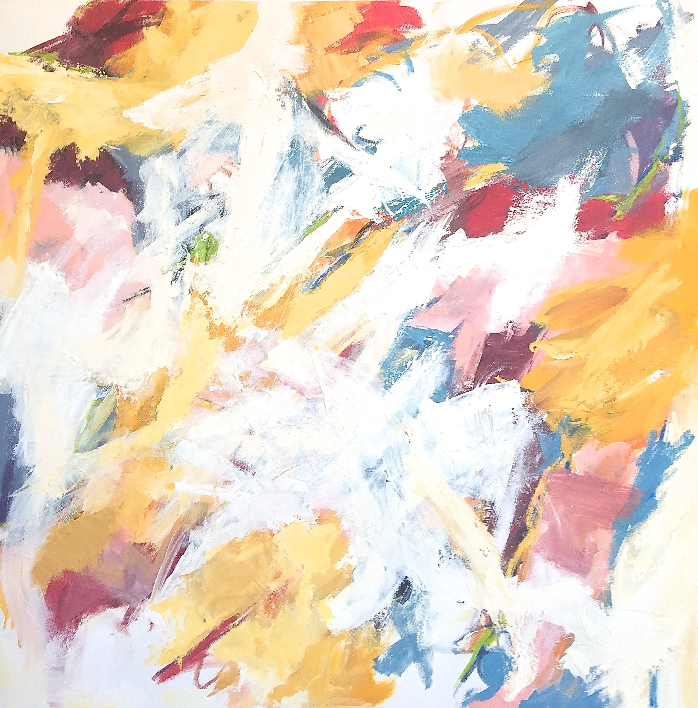 """""""Strawberry Fields Forever"""" Abstraction White, Burgundy, Blue/Gray, Yellow Ochre"""