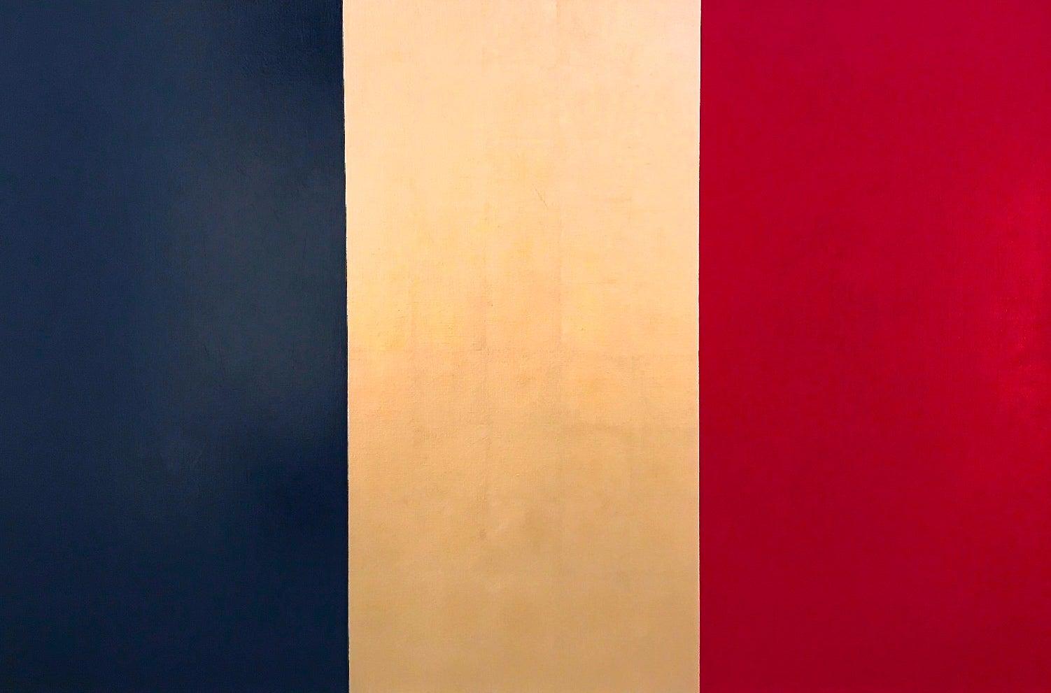 """Viva la France!"" Contemporary Pop Art Modern Flag Minimal 23k Gold Oil Painting"