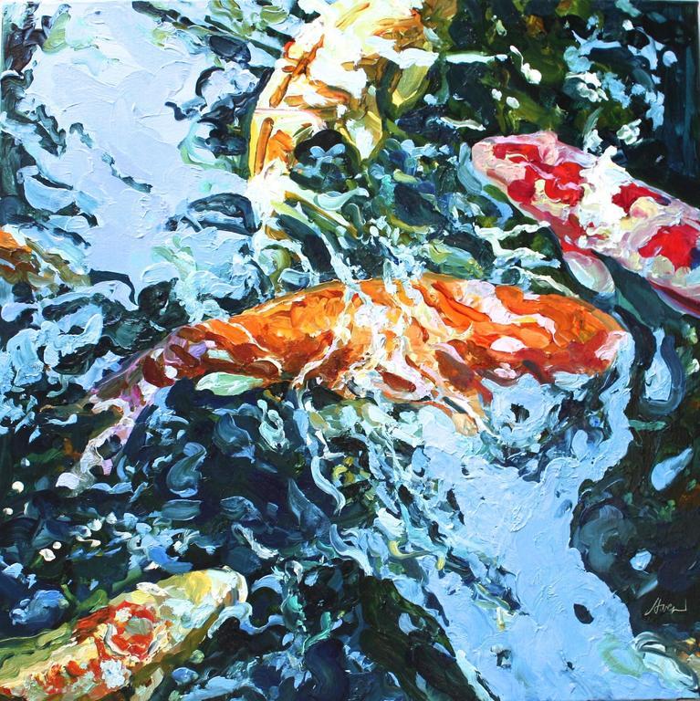 Linda holt square koi 9 painting at 1stdibs for Koi fish farm near me