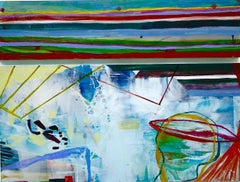 """""""Tumble and Stir""""    Abstraction in blues, green, burgundy, white, black"""