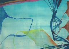 """""""Beach Walk #2""""   Abstraction in blues, greens, chartreuse and orange"""
