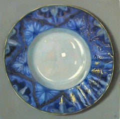 """Elegant Still Life of Blue Plate with Gold"""