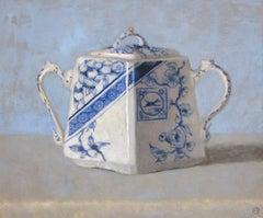 """Elegant Still Life of Blue and White Sugar Dish"""