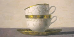 """""""Elegant Still Life of Two Stacked Cups with Golden Rims"""""""