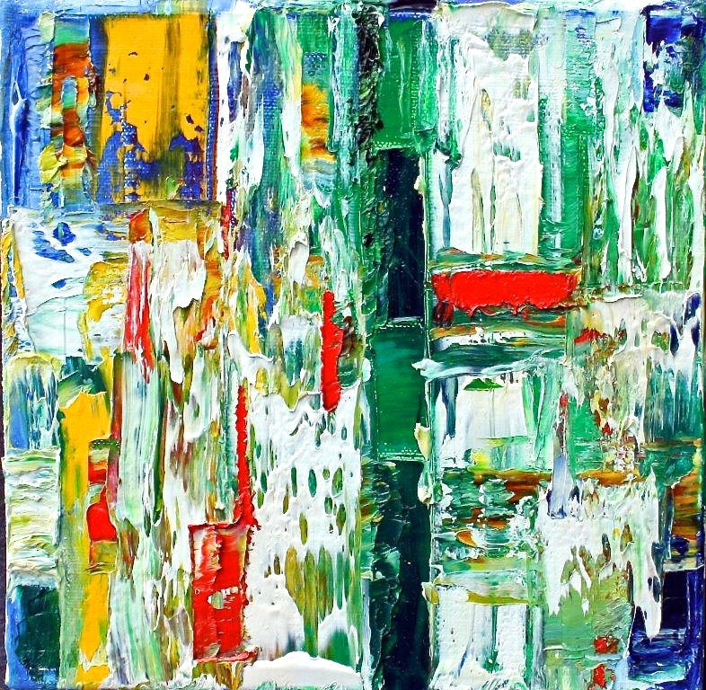 """""""Small Abstract  # 42""""  Expressionist Oil White, Green, Red, Orange, Blue, Black"""