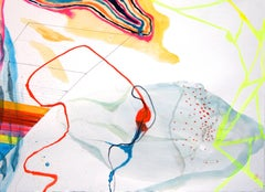 """Aerial #2""  Vivid  abstraction in white, red, electric chartreuse, orange, blue"