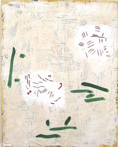 """Page 5""   Small Abstraction in Cream, White, Green, Black and Red"
