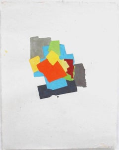 """""""P4.13"""" Abstract Expressionist Handmade Paper Colorful Collage Gouache"""