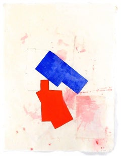 """""""P4.15"""" Abstract Expressionist Geometric Blue Red Colorful Collage Gouache"""