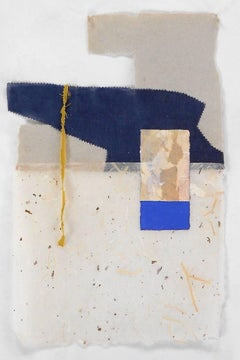 """""""P5.15"""" Abstract Expressionist Geometric Blue Tan Collage Mixed Media Gouache"""