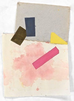 """""""Untitled"""" Abstract Expressionist Geometric Bright  Colorful Collage Gouache"""