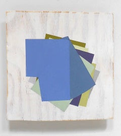 """""""Untitled"""" Abstract Geometric Oil on Wood Mixed Media Blue Green"""