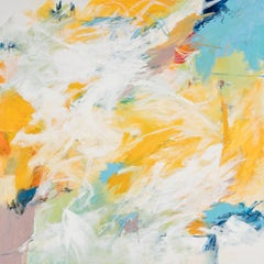 """Pools of Blue"" Gestural Abstraction in Blue, White, Yellow, Orange and Black"