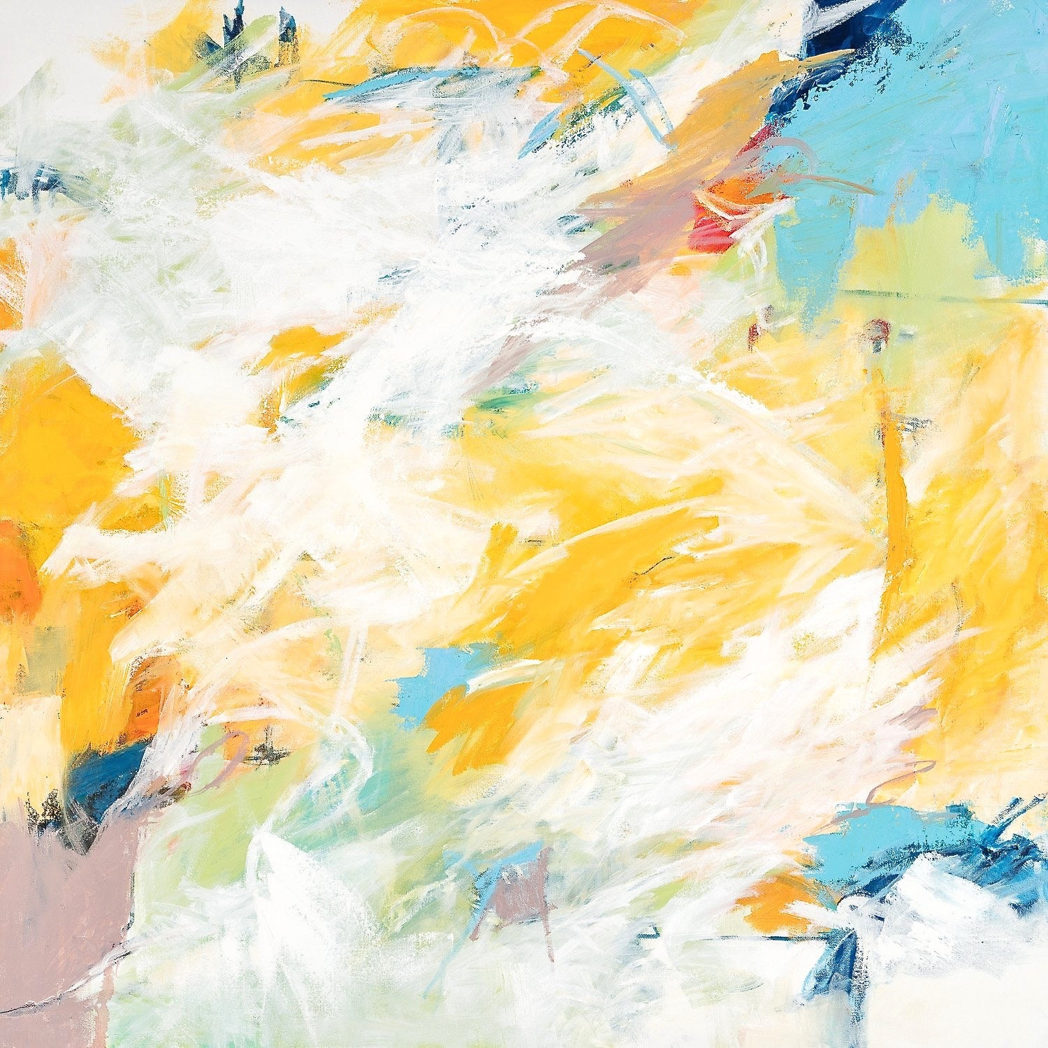 """""""Pools of Blue"""" Gestural Abstraction in Blue, White, Yellow, Orange and Black"""