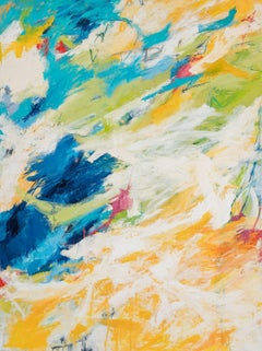 """Drippy Edges,"" Gestural Abstraction in Blue, White, Yellow, Red and Black"