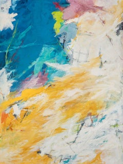 """""""Broken Clouds"""" Abstract Expressionist Oil Painting Blue Yellow Colorful"""