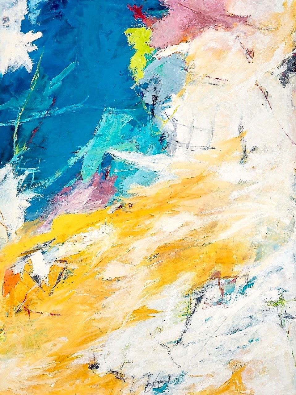 """""""Broken Clouds"""" Colorful Abstract Expressionist Ptg. Blue Yellow Lavender White"""